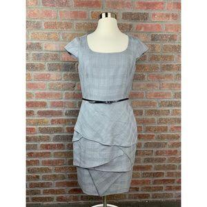 Calvin Klein Grey Plaid Belted Suit Dress, Sz 6